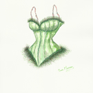 Corset watercolour painting in emerald green