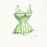 Corset original watercolour painting in emerald green
