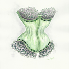 Corset watercolour painting in emerald green and mauve with sequins