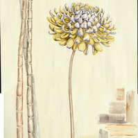 Yellow dahlia painting with bamboo stems on textured cream canvas