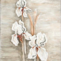 White iris painting on canvas with smokey watercolour background