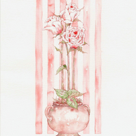 Pink rosebuds in a shabby chic pot original watercolour painting