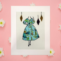 Embroidered retro inspired picture, fabric art, blue dress