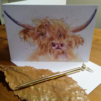Highland Cow print greeting card, blank inside