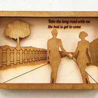 LGBQT Wooden Birthday or Anniversary Card. 3D Layered Pine & Oak Beeswax Card.