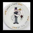 Personalised Hand-Painted Wedding Gift Plate