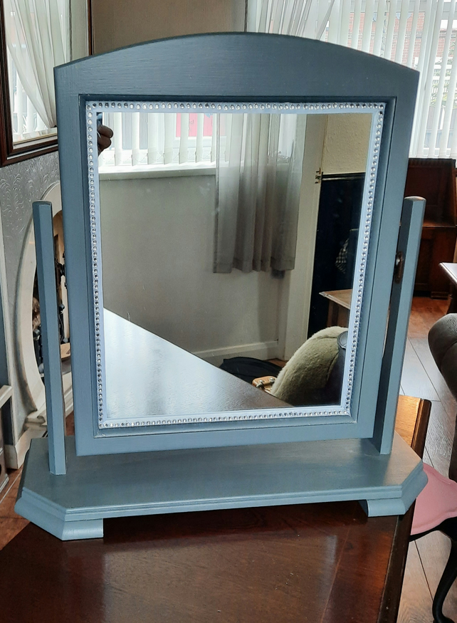 Upcycled swivel mirror on stand, finished in grey with extra detail to the front