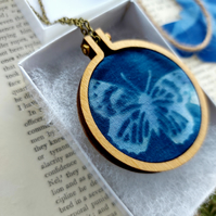 Butterfly cyanotype print necklace