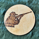 Shotgun Shooter 10cm diameter wooden drink coaster or fridge magnet.