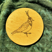 Lapwing, Peewit 10cm diameter wooden drink coaster or fridge magnet.