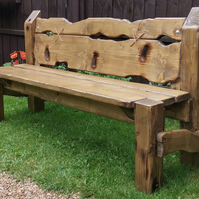 Solid Industrial Reclaimed Wood Chunky Rustic Garden Bench