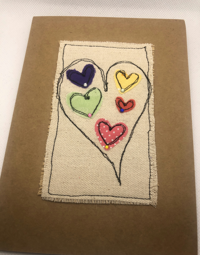 Handmade Abstract Heart Card
