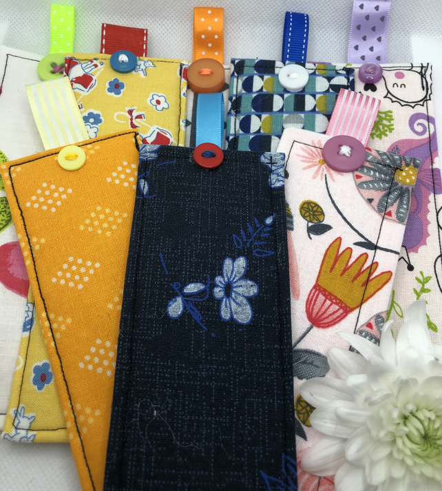 Pretty, bright handmade fabric Bookmarks
