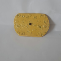 Yellow leaf patterned soap dish