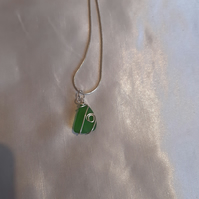 Green wrapped seaglass necklace
