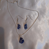 Blue Welsh seaglass necklace and earing set