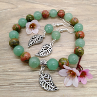 Green aventurine and unakite bracelet and earrings