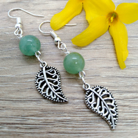 Green aventurine and leaf drop earrings