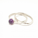 Amethyst sterling silver hammered stacking ring set