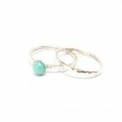 Amazonite sterling silver hammered stacking ring set