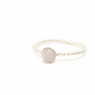 Rose Quartz, sterling silver beaded wire stacking ring