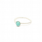 Amazonite sterling silver beaded wire stacking ring