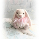 "7"" Fluffy Faux Fur Bunny Rabbit OOAK  Pretty Pink Boa Artist Boulter Bears"