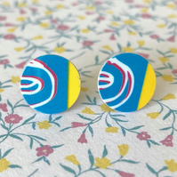Recycled plastic turquoise & yellow graphic stud earrings