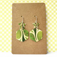 Recycled plastic hexagon and star green pattern earrings