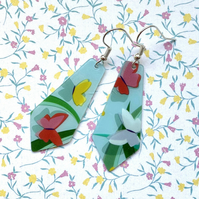 Recycled plastic pale blue butterfly kite shaped earrings