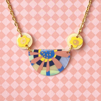 Recycled plastic abstract multicoloured semi circle necklace