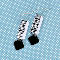Recycled plastic monochrome barcode rectangle earrings