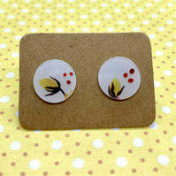 Recycled plastic yellow flower disc stud earrings