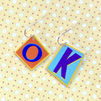 Recycled plastic OK graphic letter orange and blue earrings