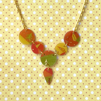 Recycled plastic multi disc orange, yellow & green tree themed necklace