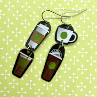 Recycled plastic brown, green & white coffee cup earrings