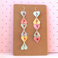 Recycled plastic 'happy days' pastel heart letter word earrings