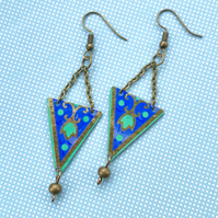 Vintage tin blue, green & gold suspended triangle beaded earrings
