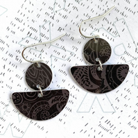 Recycled plastic circle and semi circle black lace pattern earrings