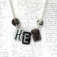 Recycled plastic 'HEY' word monochrome necklace