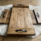 Wooden Tray with Cast Iron Handles
