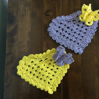 Set of 2 crochet hearts coasters with butterfly