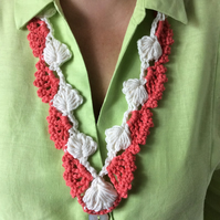Crochet white and coral long necklace