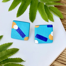 Turquoise Polymer Clay Stud Earrings - Bold Retro Design