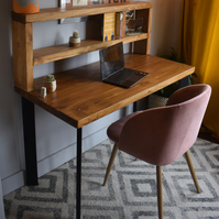 Industrial Single Pin box Legs desk with Tall Shelf Chunky Wood Size Options