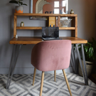 Industrial box hairpin Legs desk with Tall Shelf Chunky Wood Size Options