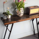 Industrial Wooden pshape Black Frame Leg Console Hall Table Chunky Wood