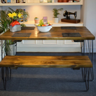 Industrial Wooden hairpin Leg Kitchen Table and Bench Chunky Wood Size Options