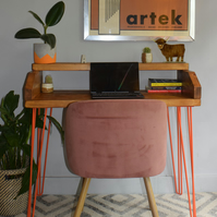 Industrial Wooden Orange hairpin Legs desk With Boxed Shelf Chunky Wood