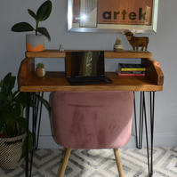 Industrial Wooden Black hairpin Legs desk With Boxed Shelf Chunky Wood